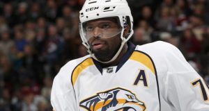 DENVER, CO - NOVEMBER 29: P.K. Subban #76 of the Nashville Predators cools during a time out against the Colorado Avalanche at the Pepsi Center on November 29, 2016 in Denver, Colorado.  (Photo by Matthew Stockman/Getty Images) ORG XMIT: 672870447